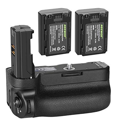 Neewer Vertikaler Batteriegriff für Sony A9 A7III A7RIII Kameras, Ersatz für Sony VG-C3EM mit 2 Packungen 7.2v 2280mAh 16.4Wh wiederaufladbarer Li-Ion Akku