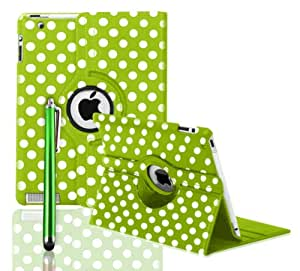 ROTATING 360 LEATHER CASE COVER + SCREEN PROTECTOR FOR APPLE IPAD 2 AND 3 AND IPAD 4 4TH GEN - BY SMARTPHONEZ_UK (GREEN POLKA)