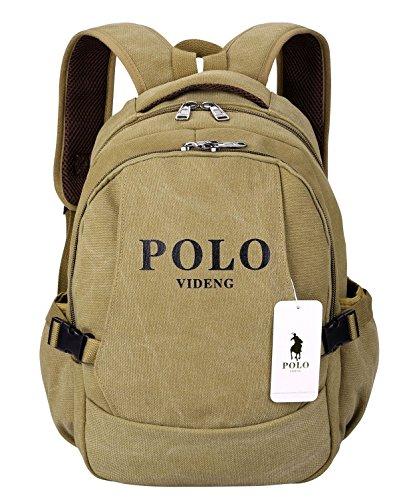 Laptop Rucksack,VIDENG POLO Geschäft Segeltuch Handtaschen Büchertasche für die Universität Reise Rucksack für unter 15 17 Zoll Laptop,2 Größe (bcs, Khaki)