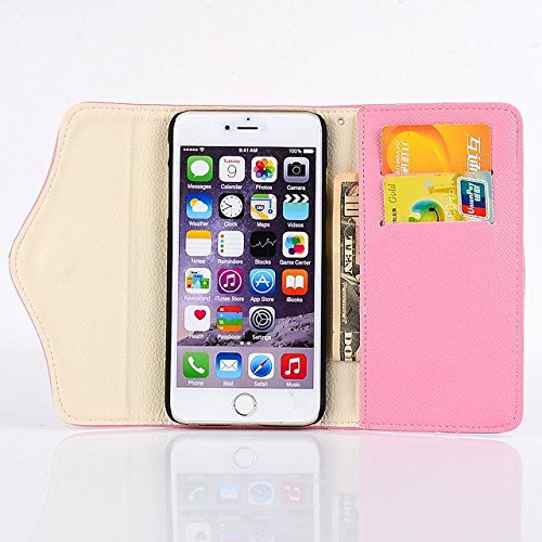 "inShang Hülle für Apple iPhone 6 Plus iPhone 6S Plus 5.5 inch iPhone 6+ iPhone 6S+ iPhone6 5.5"", Cover Mit Reißverschluss + Errichten-in der Tasche + Flower Decoration, Edles PU Leder Tasche Skins Etu zipper ship pink"