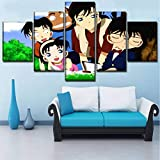 MXLYR 5 Leinwanddrucke Mit Rahmen Leinwandbilder Home Dekorative Kunst Wandkunst 5 Stücke Hd Anime Detektiv Conan Bilder Drucke Modulare Poster