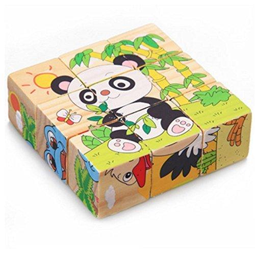 DEBON Holz-Puzzle im Kubus-Form, Frühbildungs-Spielzeug für Babys oder Kinder Animals