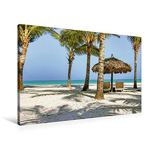 Preisvergleich Produktbild Premium Textil-Leinwand 90 cm x 60 cm quer, Perfektes Insel-Paradies mit Sonnenliegen am Strand der Insel Havelock | Wandbild, Bild auf Keilrahmen. Andamanen See, Indien (CALVENDO Orte)
