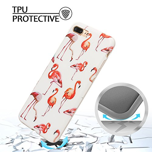 Coque iPhone 7 Plus , Coque iPhone 8 Plus TPU Etui Housse Souple Flexible Ultra Mince Silicone Gel de Protection Case Cover Mode Dessin Motif Cartoon Animaux Mignons Glace Rose Modèle pour Apple iPhon Flamingo et Blanc