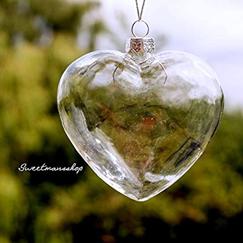 6 X Clear Heart Shape Glass Baubles Ornaments for Christmas