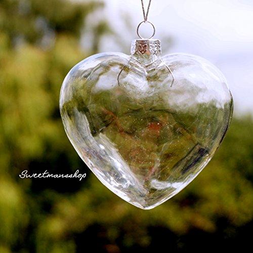 6 adornos de corazón de vidrio, adornos para Navidad o boda