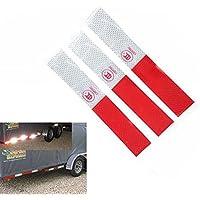 Queta - Cinta Adhesiva Reflectante de Advertencia de Seguridad para camión, Color Rojo y Blanco (5 Unidades)