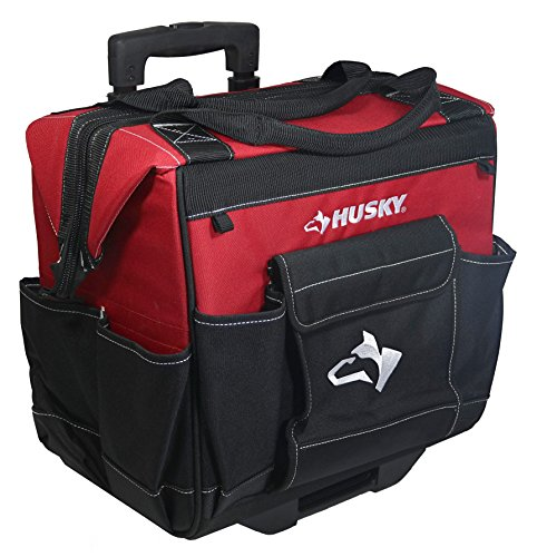 Husky - Bolsa de herramientas con ruedas, resistente al agua, 600 denier, color rojo, 35,5 cm, con mango telescópico
