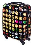 Hartschalen Reise Koffer Trolley Bordgepäck Kurzurlaub 55 x 40 x 20 Handgepäck 30 Liter Emoji Smilies 820