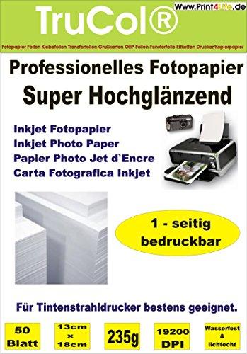Premium Fotopapier 100 Blatt 13x18 cm 235g/qm Highglossy hochglänzend wasserfest (Jet Ink 13 Papier)
