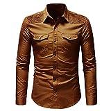Honestyi Herren Langarm Shirt Longsleeve Slim Fit Shirt Leicht Oversize Basic Sweatshirt in Vielen Farben Herbst Casual Button Shirt mit Tasche Langarmshirts Bluse