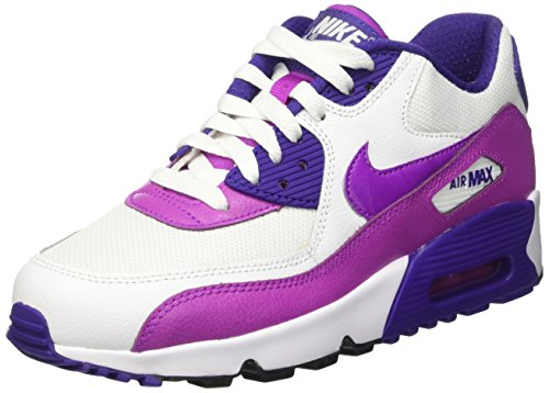 Nike - Air Max 90 Mesh (Gs), Scarpe da ginnastica Bambina Bianco (White/Hypr Violet-Crt Prpl-Blk)