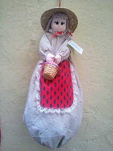 Poupée sac à sac Fannette lin rouge abeille