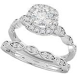 Ladies Ring - Halo Design 2 Piece Round Cut Genuine 925 Sterling Silver Luxury Unique Wedding Engagement Bridal Ring Set