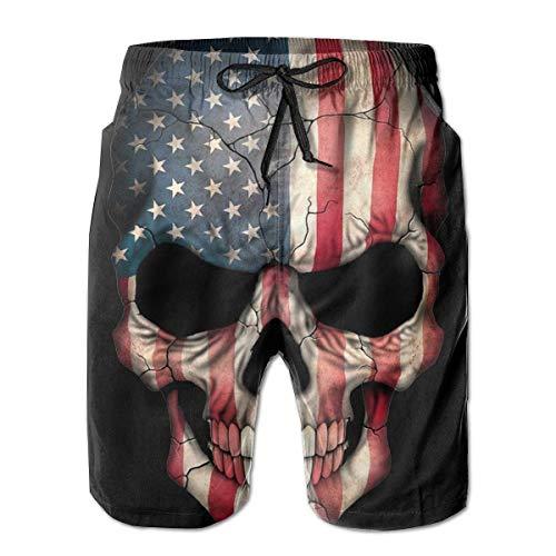 American Flag Skull Herren Boardshorts Badehose Beachwear Trainingshose L