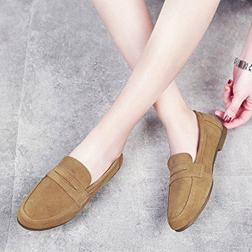 HWF Chaussures femme Printemps Shallow Mouth Chaussures simples style britannique à fond plat Lazy Shoes Chaussures femmes ( Couleur : Marron , taille : 39 ) Marron