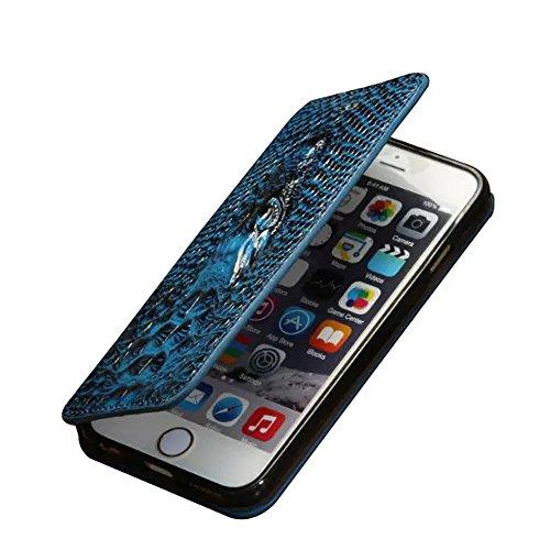 iPhone 6Cas, motif crocodile Fashion Etui à rabat en cuir PU avec stylet/film protecteur d'écran avant transparent/Support bleu