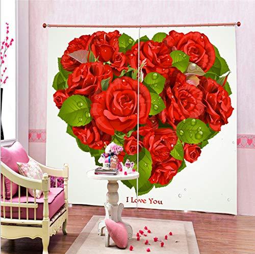 Schöne Warme Rosen Herz Vorhänge High-End Benutzerdefinierte Polyester Vorhänge 3D Vorhänge 150X166Cm -
