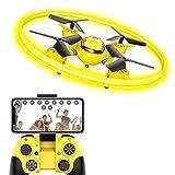 Q8 FPV Drohne mit Kamera HD Live übertragung und Nachtlicht,RC WiFi Drone Quadrocopter mit Höhehalten und Gravitationssensor,Spielzeug Drohne für Kinder und Anfänger(Gelb)