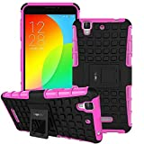 Heartly Flip Kick Stand Spider Hard Dual Rugged Armor Hybrid Bumper Back Case Cover For Micromax Yu Yureka / Yureka Plus Cyanogenmod - Cute Pink