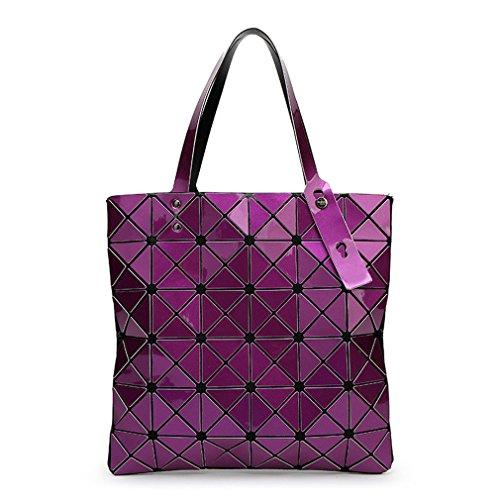 Donne borsette Plaid geometrica ripiegata borse a tracolla Casual Tote Borsetta Silve Ladies Bao Messenger Bag Mochila Bolsa viola scuro