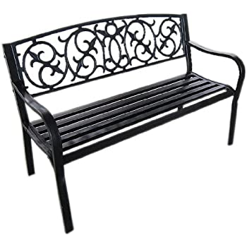 Black Metal Garden Bench Seat Outdoor Seating With Decorative Cast