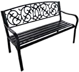 Black Metal Garden Bench Seat Outdoor Seating with for sale  Delivered anywhere in Ireland