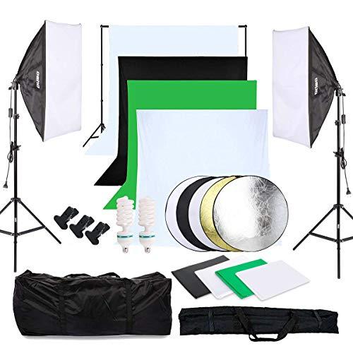 OUBO Profi Fotostudio Set 4X Hintergrundstoff (schwarz, 2X weiß, grün) Softbox Studioleuchte Studiosets Hintergrund Fotoleinwand inkl. 5in1 Reflektor 60cm Stativ Studio Lampen Schutztasche (Fotografie Ausrüstung)