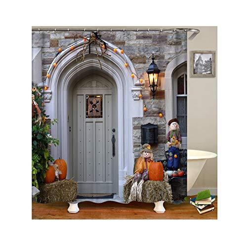 ANAZOZ Duschvorhang Wasserdicht, Anti Schimmel, Umweltfreundlich Waschbar mit 12 Duschvorhangringen Polyester Halloween Stil Bad Vorhang für Badezimmer Badewanne Bunt 120X180CM A5781