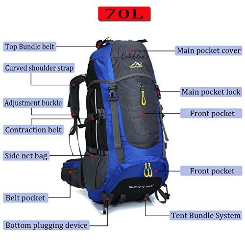 Ticktock Ong 70L Travel Rucksack Large Wandern Bergsteigen Ruck Sack Wasser Resistang Gepäcktasche für Outdoor Reisen Klettern Camping Blau
