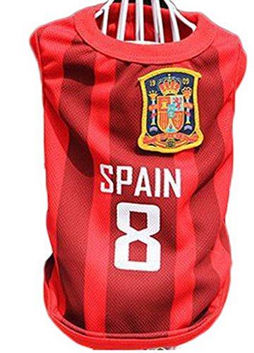 Bigood Gilet T-shirt Chien Animaux Veste Sans Manche Football Sport Espagne Bust 55cm
