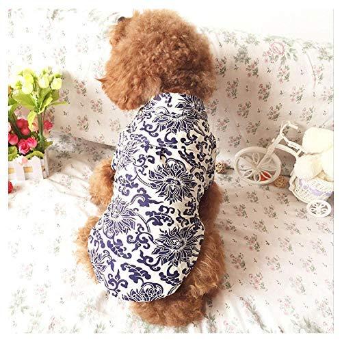 Boy Kostüm Katze - T-Shirt Jumpsuit Pet Supplies Katze Kleidung Haustier blau und weiß Porzellan Cheongsam Teddybär Hund Hund Kleid Sommer Paar Kostüm Katze Sommerkleid @ Boy Version_L Weiches Large