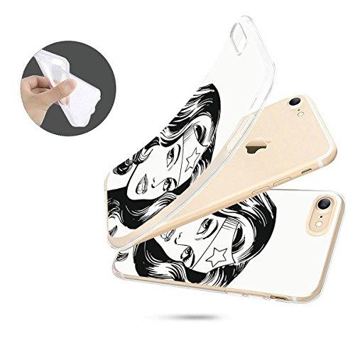 finoo | iPhone 6 / 6S Weiche flexible lizensierte Silikon-Handy-Hülle | Transparente TPU Cover Schale mit Wonder Woman Motiv | Tasche Case mit Ultra Slim Rundum-schutz | Every Mom Portrait Black and White