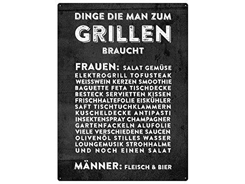 WANDSCHILD 28x20cm DINGE DIE MAN ZUM GRILLEN BRAUCHT Geschenk Grill Mann
