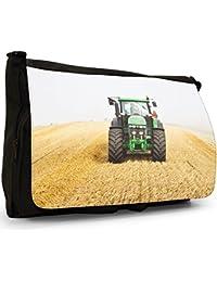 Preisvergleich für Landfahrzeug Traktor Große Messenger- / Laptop- / Schultasche Schultertasche aus schwarzem Canvas