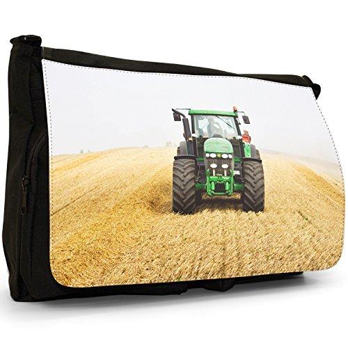 Trattore grande borsa a tracolla Messenger Tela Nera, scuola/Borsa Per Laptop Green Tractor In The Field