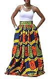 Floral de África Las Mujeres de Impresión Maxi Faldas de Cintura Alta Larga Suelta Blue S