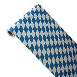 50m x 0,40m JUNOPAX® Papier Tischläufer Raute weiß-blau | nass- und wischfest