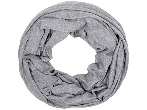 Sciarpa a tubo circolare in viscosa, foulard da donna leggero e morbido estate primavera autunno inverno loop anello ragazze colorati stola accessorio moderno lifestyle, SCH-920a-t:grigio