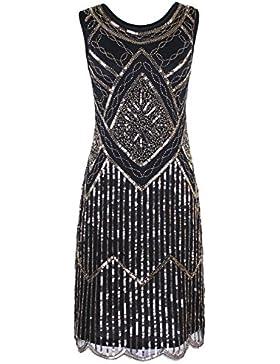 PrettyGuide Donne 1920s Annata Lustrino Perline Bordo Smerlato Vestito Con Le Frange Gatsby