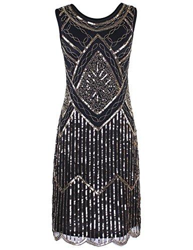 PrettyGuide Damen Weinlese 1920 Pailletten Perlen Double Sided ausgebogter Rand Flapper Kleid Champagne Gold M