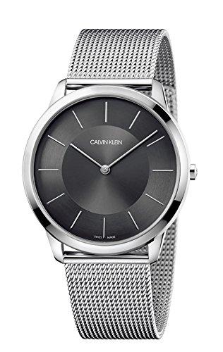 Calvin Klein Herren-Armbanduhr Analog Quarz One Size, anthrazit, silber
