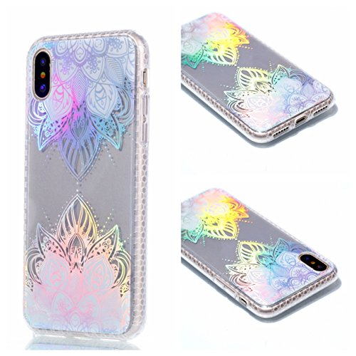 Apple iPhone X Hülle, Voguecase Schutzhülle / Case / Cover / Hülle / Plating TPU Gel Skin (Transparente-halbe Blumen) + Gratis Universal Eingabestift Transparente-Bunt Durchstochen 08