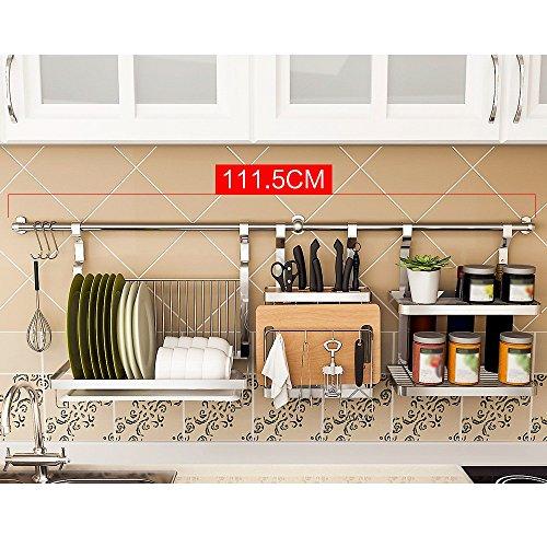 Shelf Estante de cocina de acero inoxidable Soporte de pared Soportes de pared Estante Estante Colgante de gancho (Estilo : B)