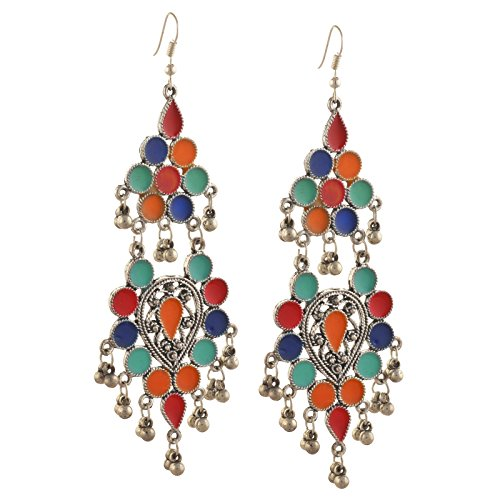 Zephyrr Fashion German Silver Afghani Hook Dangler Earrings For Girls and Women