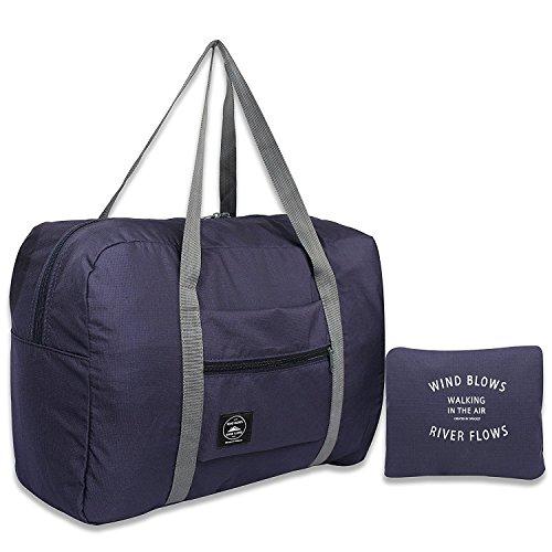 Reise Faltbare Seesack für Frauen & Männer, Wasserdichte leichte Reisetasche für Sport, Fitnessraum, Urlaub(Style 1-Marineblau)