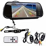 """Koly 7"""" LCD monitor del espejo + Wireless del revés del coche de visión trasera de copia de seguridad cámara de visión nocturna"""