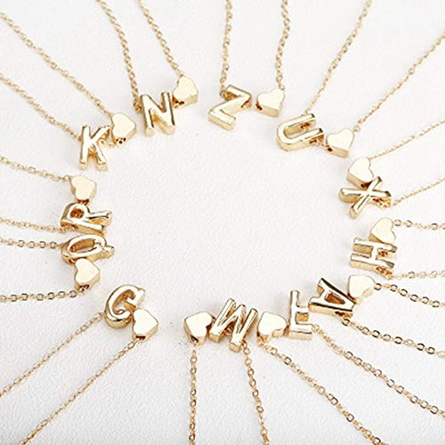 JMZDAW Halskette Anhänger Kleine Gold Und Silber Initial Halskette 26 Buchstaben Und Herz Anhänger Mit Halskette Auf Dem Hals Für Frauen Mädchen Geschenk Schmuck, M -