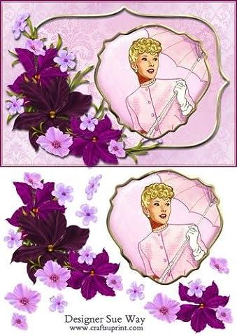 Feuille A4 pour confection de carte de vœux - Cameo Lady with a Pink Parasol Decoupage par Sue Way