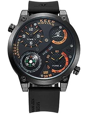 Alienwork DualTime Quarz Armbanduhr Multi Zeitzonen Quarzuhr Uhr XXL Oversized schwarz Polyurethan OS.UV1505-6
